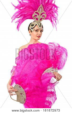 Beautiful Girl In Carnival Costume, Isolated On White Background.