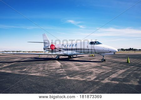 FORT MYERS - FEBRUARY 16 2017: Modern business jet Cessna Citation Latitude N613CL at small airport.