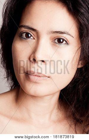 Beautiful asian woman with natural makeup. Close-up