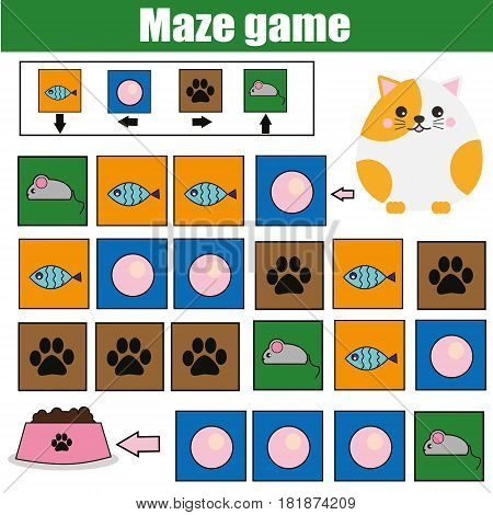Maze children game: help the cat go through the labyrinth and find food. Kids activity sheet. Logic game with code and cipher navigation