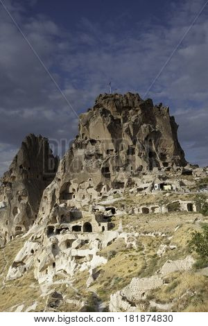 Nice and beautiful town inside of the rocks of Goreme, Uchisar, Capadocia, Turkey