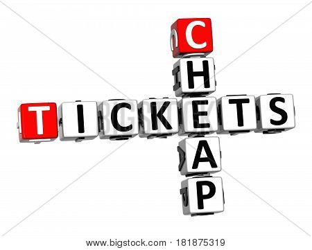 3D Ticket Cheap Crossword On White Background