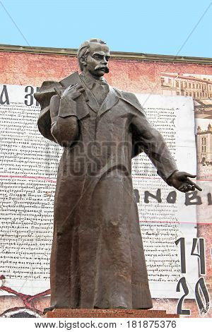 CHERNIVTSI, UKRAINE - APRIL 15, 2012: Monument of Taras Shevchenko on the central square in the old town Chernivtsi. Western Ukraine