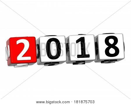 3D Happy New Year 2018 Crossword On White Background