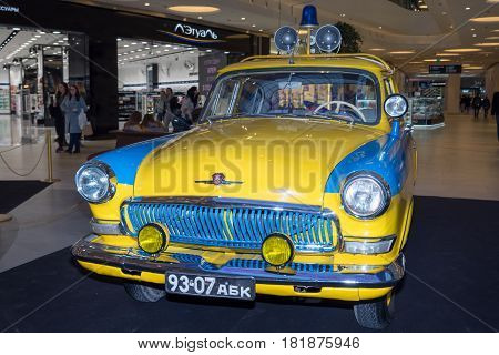 Moscow Russia - April 02 2017: GAZ-21 Volga Soviet Union 1969. Police car. Retro car exibition in shopping mall Metropolis.