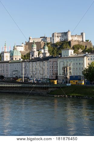 SALZBURG AUSTRIA - APRIL 29 2016: Old town and Fortress Hohensalzburg beautiful medieval castle in Salzburg Austria