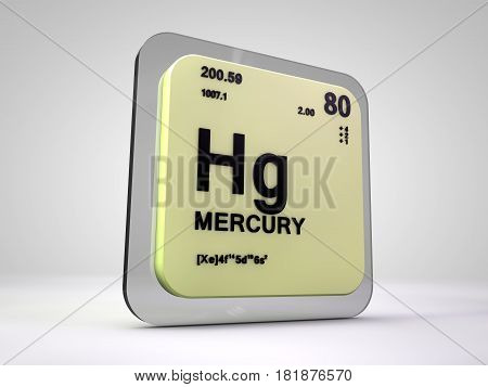 mercury - Hg - chemical element periodic table 3d render