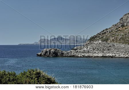 Rocky promontory on the Mediterranean Sea on the island of Rhodes