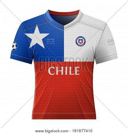 Soccer shirt in colors of chilean flag. National jersey for football team of Chile. Qualitative vector illustration about soccer sport game football championship national team gameplay etc