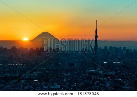 Mt Fuji And Tokyo Sky Tree In Sunset, Tokyo