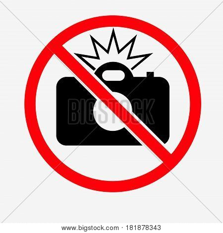 No Flash Sign On White Background