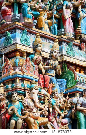 Bangalore, India - December 13, 2015:Detail of the Shiva temple gopuram in Bangalore exterior view a typical south Indian temple architecture.