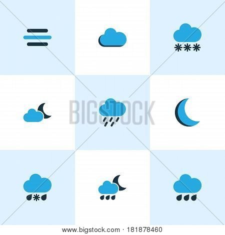 Weather Colored Icons Set. Collection Of Night, Moonshine, Breeze And Other Elements. Also Includes Symbols Such As Rainfall, Breeze, Snowfall.