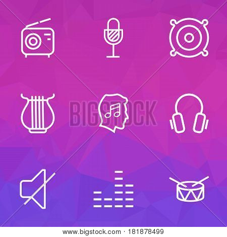Audio Outlines Set. Collection Of Cover, Stringed, Orator And Other Elements. Also Includes Symbols Such As Mixer, Microphone, Earphones.
