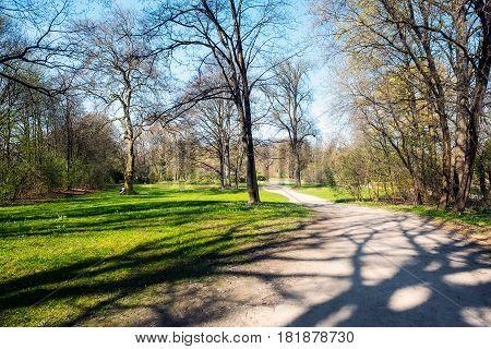 Munich Bavaria Germany.- March 28 2017. Stroll through the Munich Englischer Garten