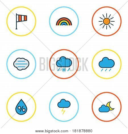 Climate Colored Outlines Set. Collection Of Rainbow, Sunshine, Raindrop And Other Elements. Also Includes Symbols Such As Cloudburst, Lightning, Twilight.