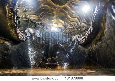Details Of The Interior Of The Bronze Sculpture Of The Patron Saint Of Munich, Called Bavaria, The L