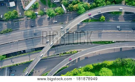 Bird view of flyover in the city of Jakarta Indonesia.