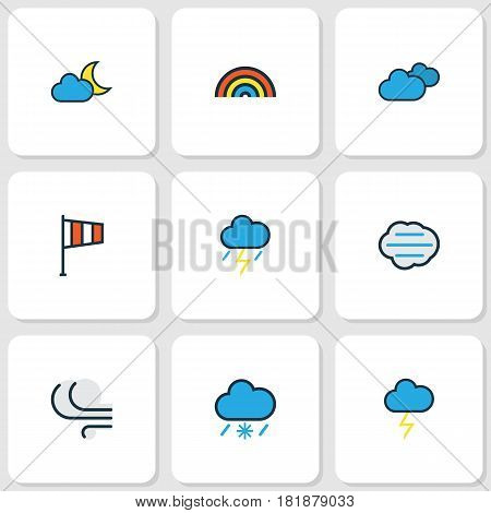 Nature Colored Outlines Set. Collection Of Windy, Cloudburst, Thunderstroke And Other Elements. Also Includes Symbols Such As Moon, Storm, Cloudburst.