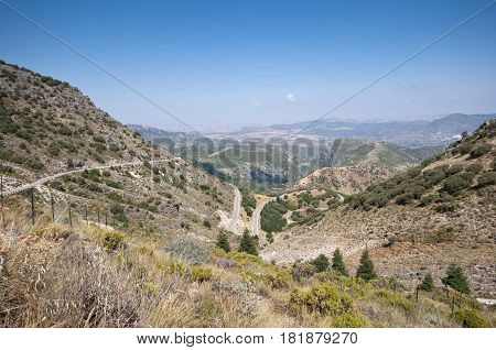 Views of Grazalema Natural Park from Palomas Mountain Pass, Cadiz,, Andalusia, Spain