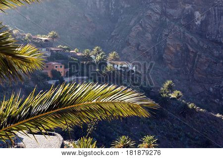 Mountain village in the Masca gorge Tenerife Spain. Masca is a small mountain village on the island of Tenerife. The village is home to around 90 inhabitants. The village lies at an altitude of 650 m in the Macizo de Teno mountains which extend up to the