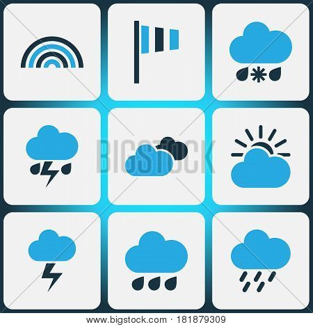 Meteorology Colored Icons Set. Collection Of Cold Weather, Arc, Thunderstorm And Other Elements. Also Includes Symbols Such As Sun, Forecast, Arc.