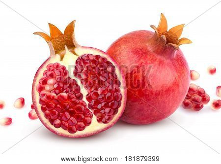 Pomegranate isolated. Whole pomegranate and its half isolated on white background with clipping path