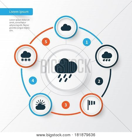 Climate Icons Set. Collection Of Cloudy, Flag, Sun-Cloud And Other Elements. Also Includes Symbols Such As Snow, Shower, Weather.