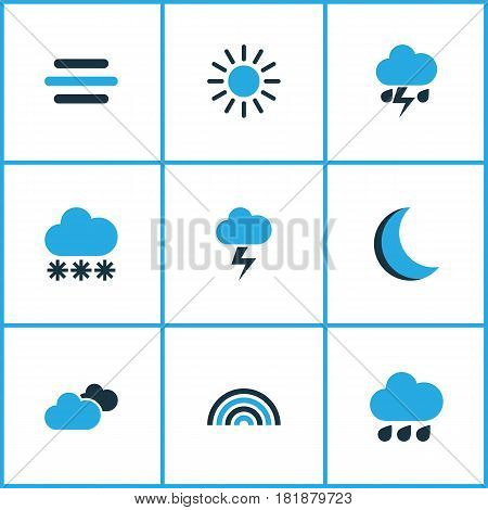 Weather Colored Icons Set. Collection Of Arc, Thunderstorm, Lightning And Other Elements. Also Includes Symbols Such As Winter, Summer, Snow.