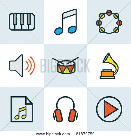 Music Colored Outlines Set. Collection Of Earphones, Gramophone, Volume And Other Elements. Also Includes Symbols Such As Instrument, Barrel, Gadget.