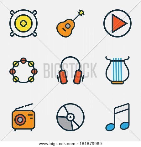 Audio Colored Outlines Set. Collection Of Tambourine, Play, Strings And Other Elements. Also Includes Symbols Such As Gadget, Speaker, Guitar.