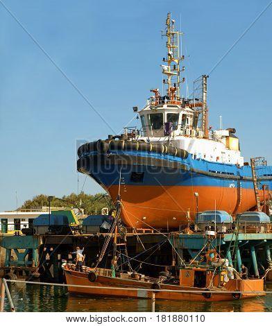 Fishing boat repairing on the dry dock
