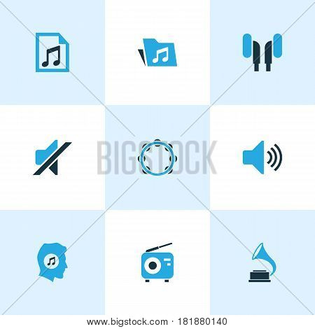 Multimedia Colored Icons Set. Collection Of Music Lover, Volume, Playlist And Other Elements. Also Includes Symbols Such As Dossier, Gramophone, Phonograph.