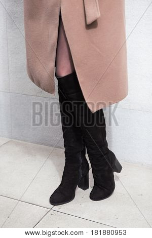 Girl In High Black Boots, Lookbook, Women's High Leather Boots And Bright Coat