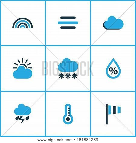 Nature Colored Icons Set. Collection Of Breeze, Thermometer, Fog And Other Elements. Also Includes Symbols Such As Speed, Breeze, Rainbow.