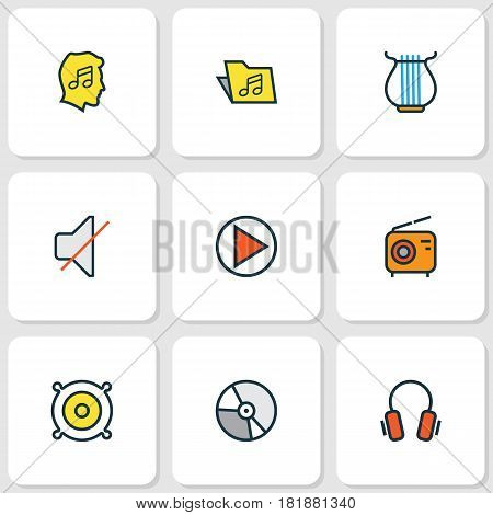 Multimedia Colored Outlines Set. Collection Of Earphones, Play, Mute And Other Elements. Also Includes Symbols Such As Package, Headphone, Vinyl.