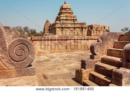 Abandoned historical city with Hindu temples architecture landmark in Pattadakal, India. UNESCO World Heritage site with stone carved temples of 7th and 8th-century