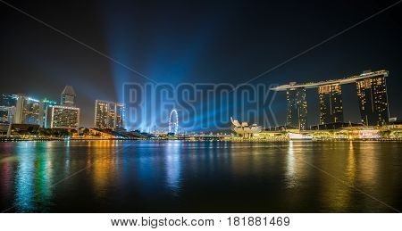 Singapore Night Skyline Waterfront At Marina Bay