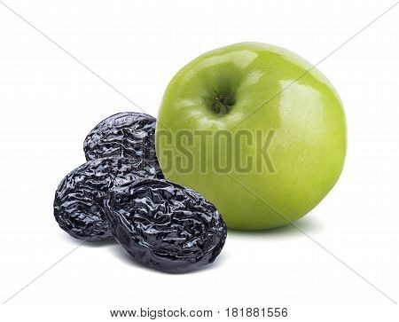Whole green apple back and dry plums isolated on white background as package design element