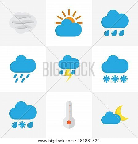 Meteorology Flat Icons Set. Collection Of Rain, Snow, Drizzles And Other Elements. Also Includes Symbols Such As Sun, Thermometer, Flash.