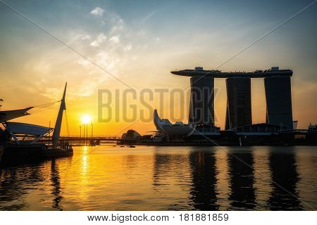 Marina Bay Sands Hotel During Morning Sunrise
