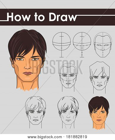 Draw tutorial. Step by step. Male face.