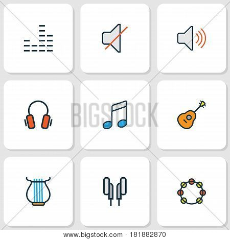 Multimedia Colored Outlines Set. Collection Of Mixer, Headphones, Tambourine And Other Elements. Also Includes Symbols Such As Harp, Guitar, Strings.