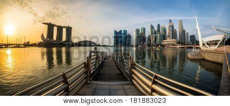 Singapore Marina Bay In Panoramic View At Sunrise