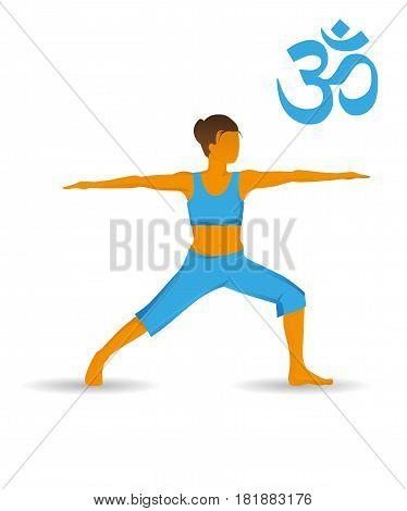 Virabhabdrasana or warrior yoga pose on a white background