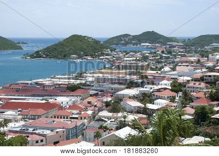 The old town of Charlotte Amalie town on St. Thomas island (U.S. Virgin Islands).