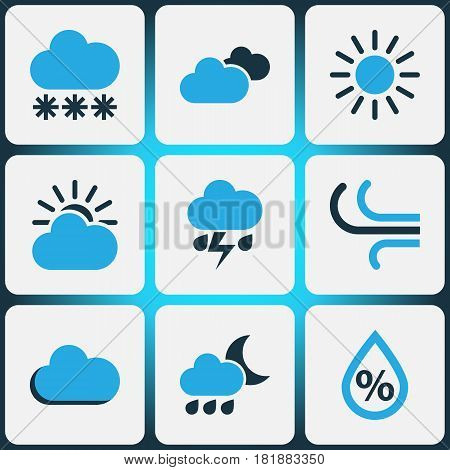 Climate Colored Icons Set. Collection Of Sunny, Snowfall, Humidity And Other Elements. Also Includes Symbols Such As Percent, Storm, Sun.