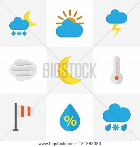 Nature Flat Icons Set. Collection Of Sunny, Drop, Windy And Other Elements. Also Includes Symbols Such As Flag, Banner, Thermometer.