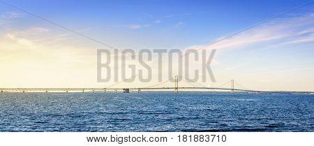 View of Mackinac Bridge over the Straits of Mackinac in Michigan