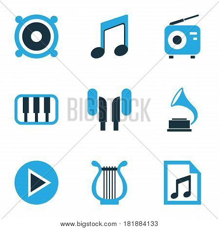 Music Colored Icons Set. Collection Of Radio, Playlist, Speaker And Other Elements. Also Includes Symbols Such As Earmuff, Gramophone, Radio.